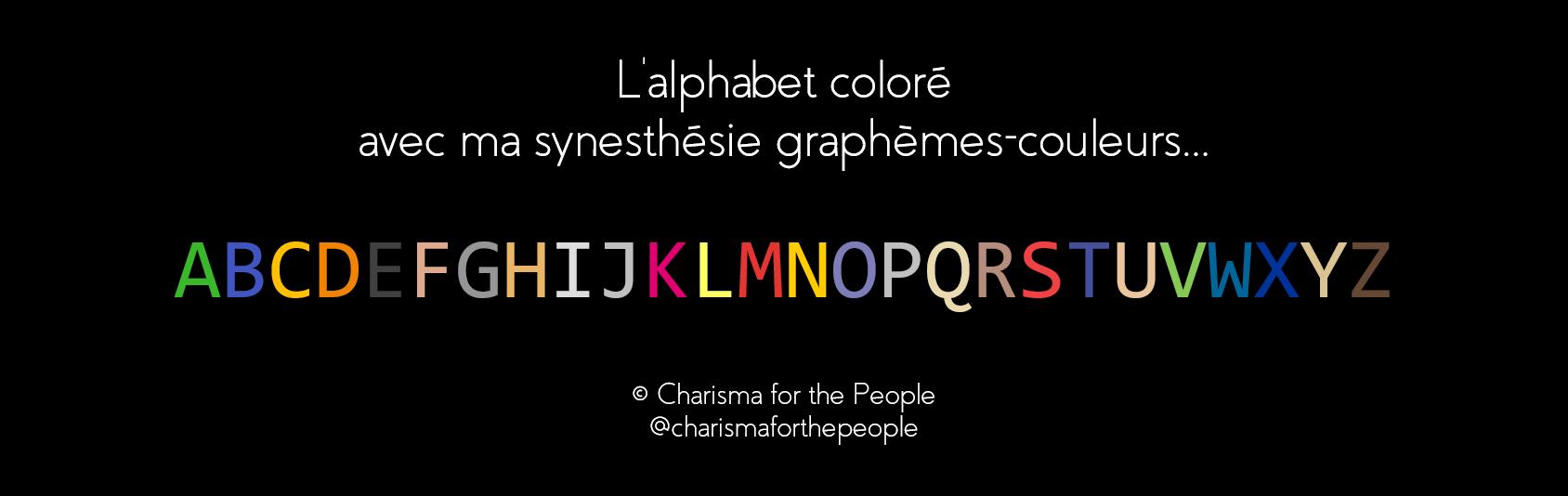 Alphabet coloré - synesthésie graphèmes couleurs